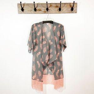 LULAROE Monroe Fringe Feather Printed Kimono Top
